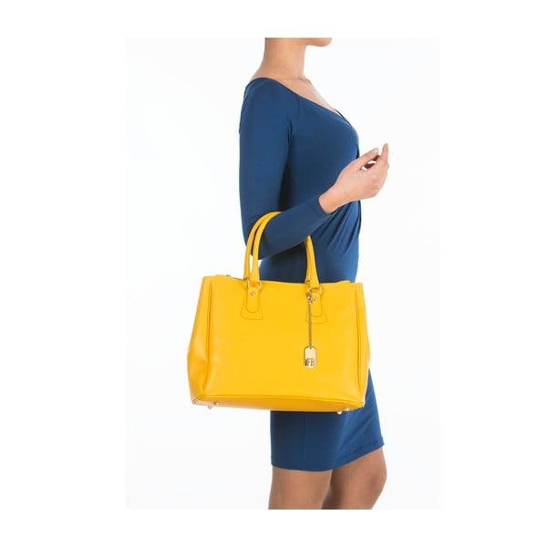 Žltá kožená kabelka Federica Bassi Ano