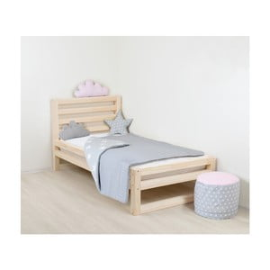 Detská drevená jednolôžková posteľ Benlemi DeLuxe Naturalisimo, 180 x 90 cm