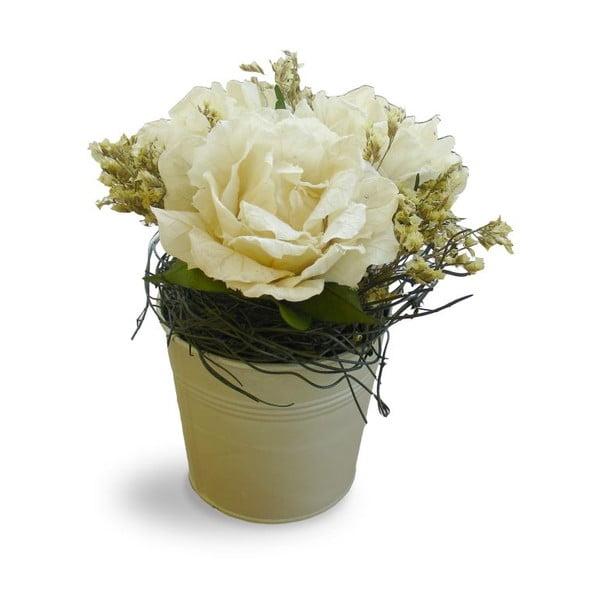Kvetináč s umelými kvetmi Bouquet, 21 cm