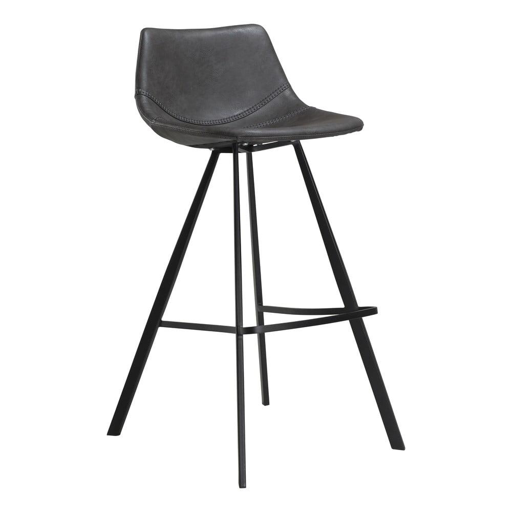 Sivá barová stolička z eko kože s čiernou kovovou podnožou DAN–FORM Denmark Pitch, výška 98 cm