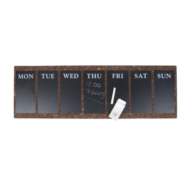 Nástenná tabuľa s týždenným plánovačom PT LIVING Cork, 78x25cm