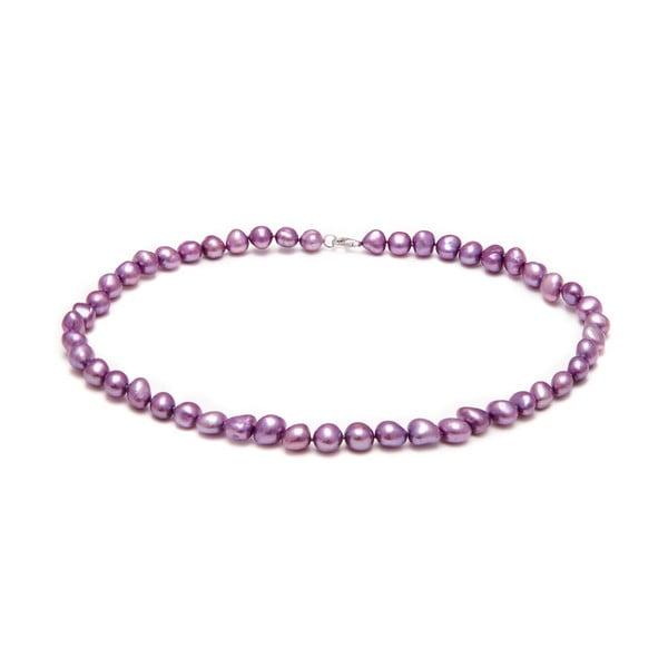 Náhrdelník z riečnych periel GemSeller Pyrola, fialové perly