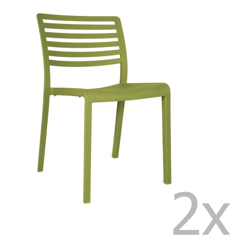 Sada 2 zelených záhradných stoličiek Resol Lama