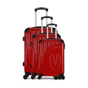 Sada 3 červených cestovných kufrov na kolieskach VERTIGO Cadenas Integre