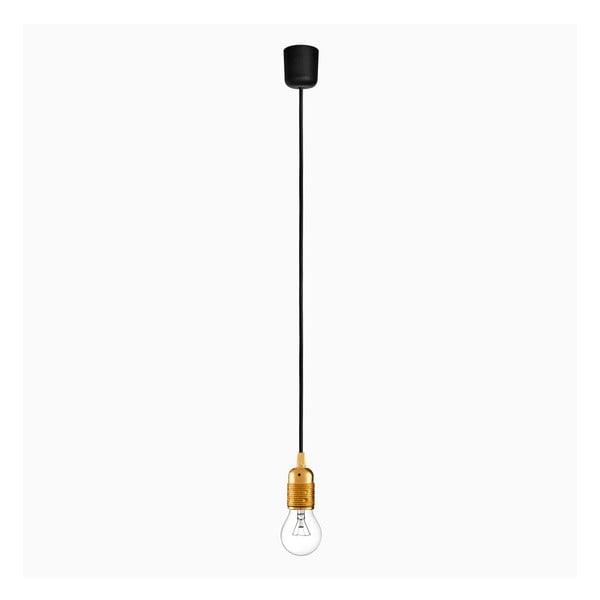 Závesné svietidlo s čiernym káblom a objímkou v zlatej farbe Bulb Attack Uno