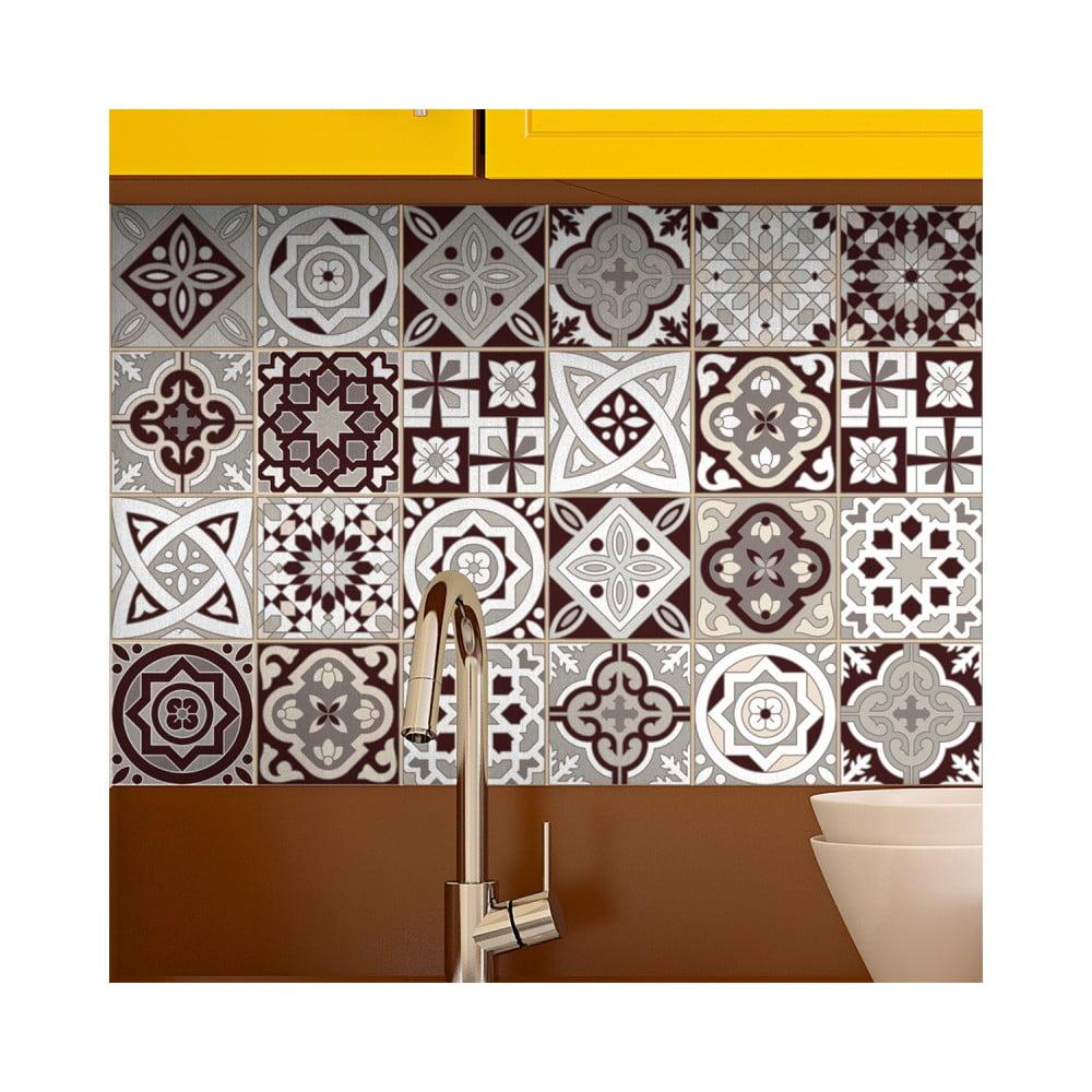 Sada 24 nástenných samolepiek Ambiance Wall Stickers Tiles Amazonas, 15 × 15 cm