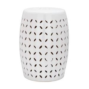 Biely odkladací keramický stolík vhodný do exteriéru Safavieh Lattice Petal