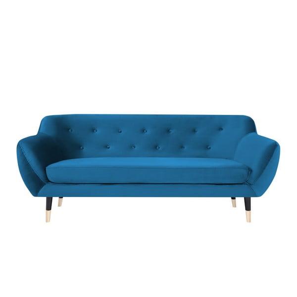 Modrá trojmiestna pohovka s čiernymi nohami Mazzini Sofas Amelie