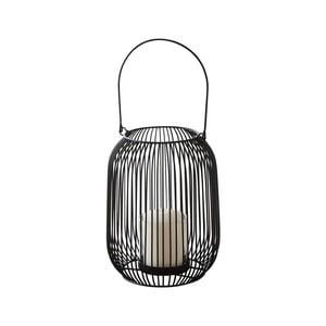Čierny kovový lampáš Native Industrial, ⌀15 cm