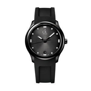 Pánske čierne hodinky s gumovým remienkom Calvin Klein