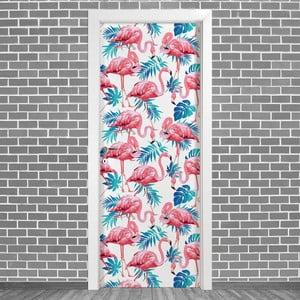 Samolepka na dvere LineArtistica Fenicotteri Uno, 80×215cm