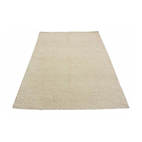 Vlnený koberec Flat, 100x150 cm, béžový