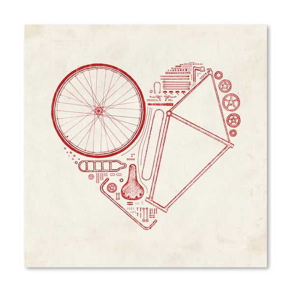 Plagát Love Bike Red od Florenta Bodart, 30x30 cm
