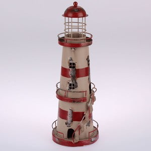 Kovový závesný svietnik Red Stripes Lighthouse, 32 cm