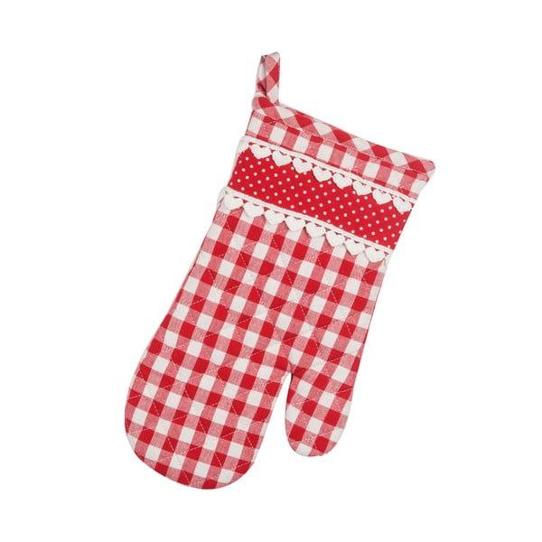 Kuchynská rukavica Basic Hearts, červená