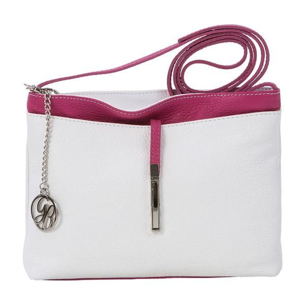 Kožená kabelka Francesco, biela/fuchsiová
