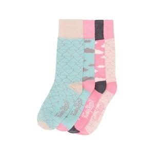 Sada 4 párov farebných ponožiek Funky Steps Vanilla, veľ. 35-39