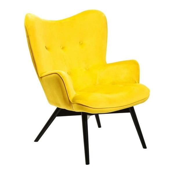 Žlté kreslo Kare Design Vicky Velvet
