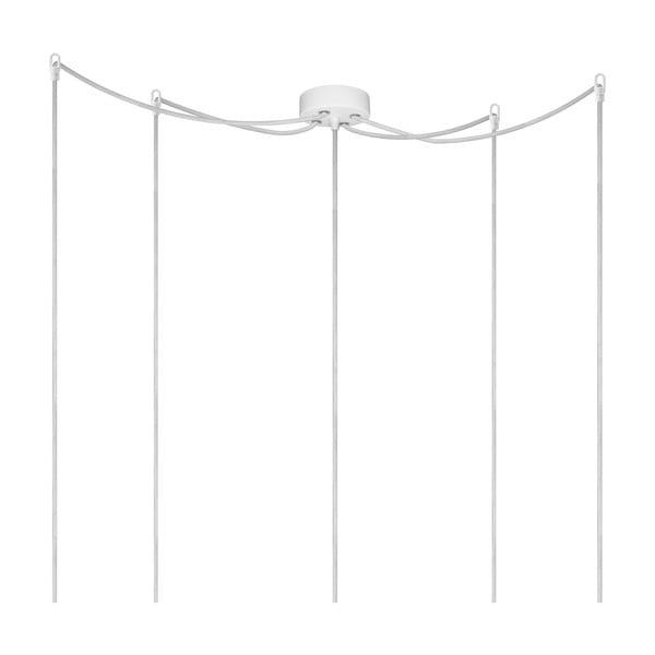 Závesné svietidlo s 5 bielymi káblami a objímkou v striebornej farbe Bulb Attack Uno