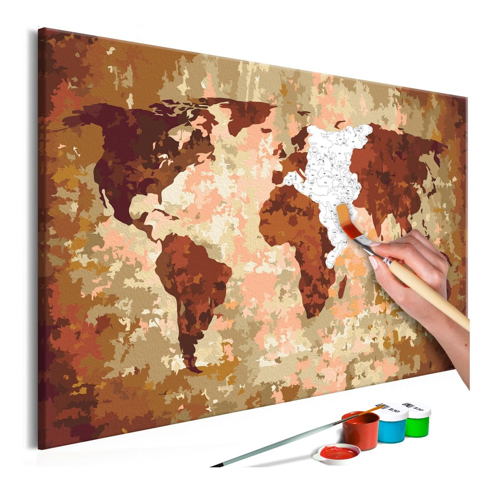 DIY set na tvorbu vlastného obrazu na plátne Artgeist Earth Map, 60 × 40 cm