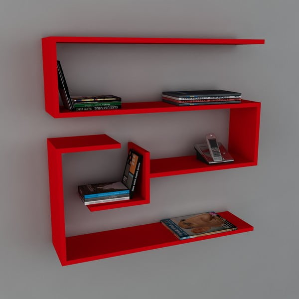 Polica Confier Book Red, 22x90x87 cm