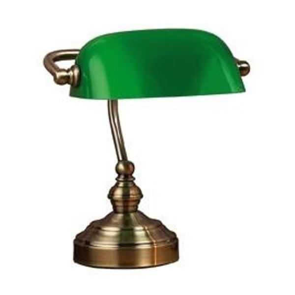 Stolová lampa v zelenej a mosadznej farbe Markslöjd Bankers, 25 cm