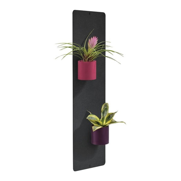 Podstavec na magnetické kvetináče, čierny, 14x50 cm