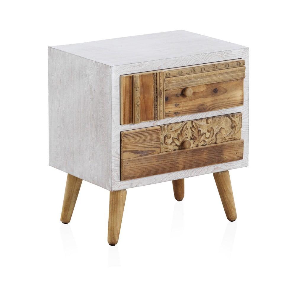 Nočný stolík s bielymi detailmi a dvoma zásuvkami Geese Rustico Puro, 48,5 × 52 cm