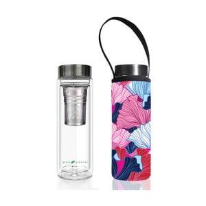 Cestovná termofľaša z borosilikátového skla s obalom a sitkom BBBYO Fan, 500 ml