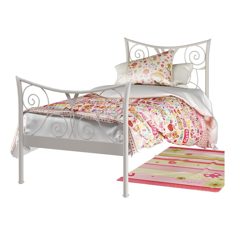 Biela kovová posteľ Støraa Elizabeth, 90 × 200 cm