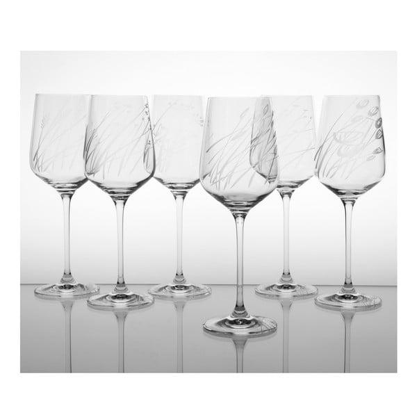 Ateliér Žampach, set 6 ks pohárov na biele víno Traviny hore