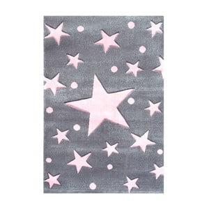 Sivo-ružový detský koberec Happy Rugs Star Constellation, 80x150cm
