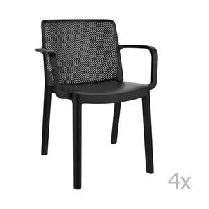 Sada 4 čiernych záhradných stoličiek sopierkami Resol Fresh