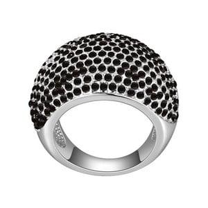 Prsteň s čiernymi krištáľmi Swarovski Dome, veľkosť 52
