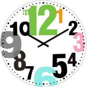 Sklenené hodiny Farebné čísla, 34 cm