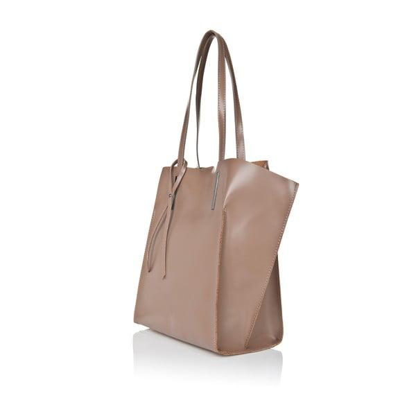 Sivo-béžová kožená kabelka Giorgio Costa Mantina