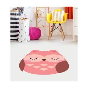 Ružový detský vinylový koberec Floorart Sova, 75 x 100 cm