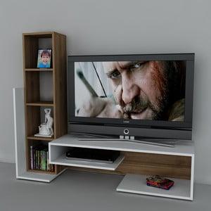 Televízna stena Bend White/Walnut, 39x153,6x130,9 cm