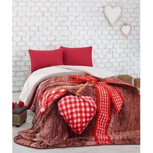 Červená prikrývka  na dvojlôžko cez posteľ Lovebox, 240 x 220 cm