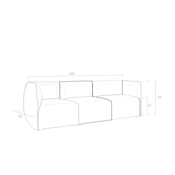 Béžová pohovka pre troch VIVONITA Cube Sawana