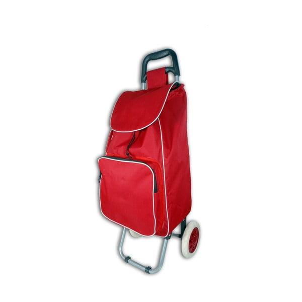 Červený nákupný košík na kolieskach s termou kapsou Jocca