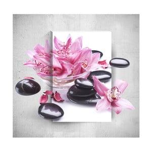 Nástenný 3D obraz Mosticx Pink Flowers With Pebbles, 40×60 cm