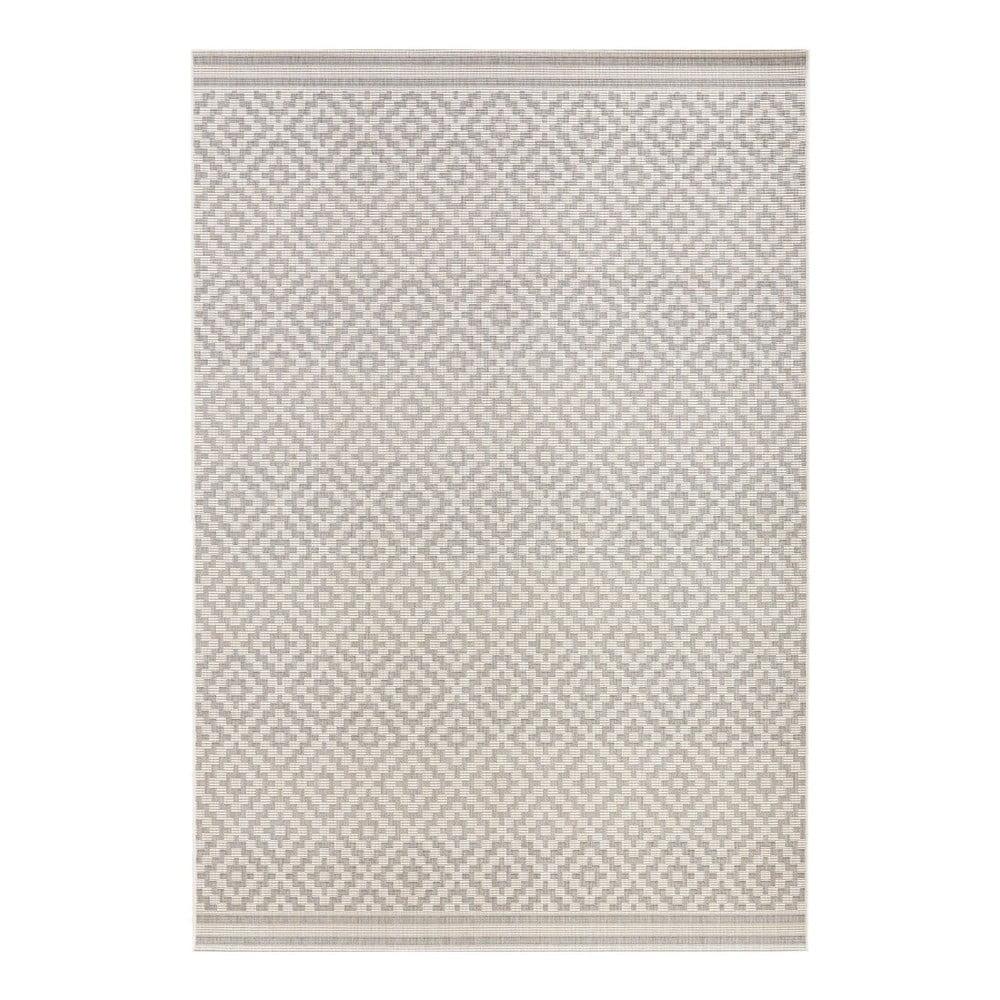 Sivo-krémový koberec vhodný i do exteriéru Bougari Meadow, 140 x 200 cm
