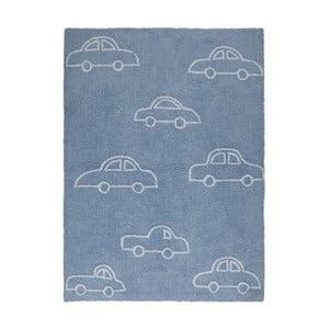 Modrý bavlnený koberec Happy Decor Kids Coches, 160x120cm