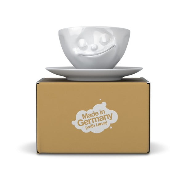 Biely šťastný hrnček na espresso 58products