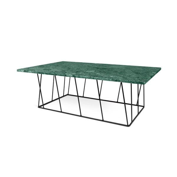 Zelený mramorový konferenčný stolík s čiernymi nohami TemaHome Helix, 120cm