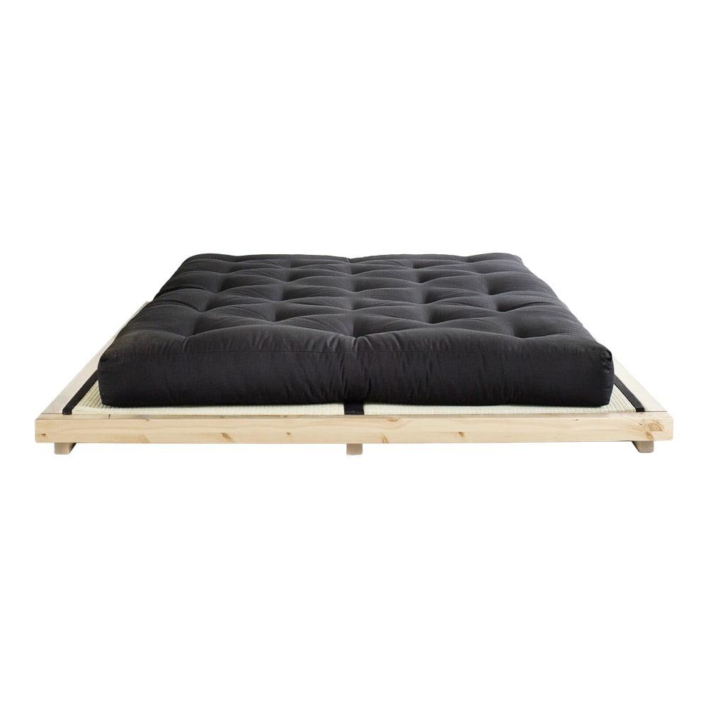 Dvojlôžková posteľ z borovicového dreva s matracom a tatami Karup Design Dock Double Latex Natural/Black, 160 × 200 cm