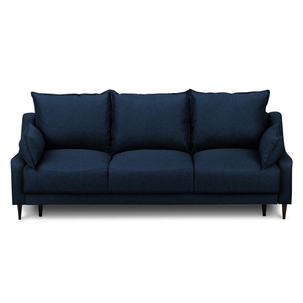 Modrá rozkladacia trojmiestna pohovka s úložným priestorom Mazzini Sofas Ancolie