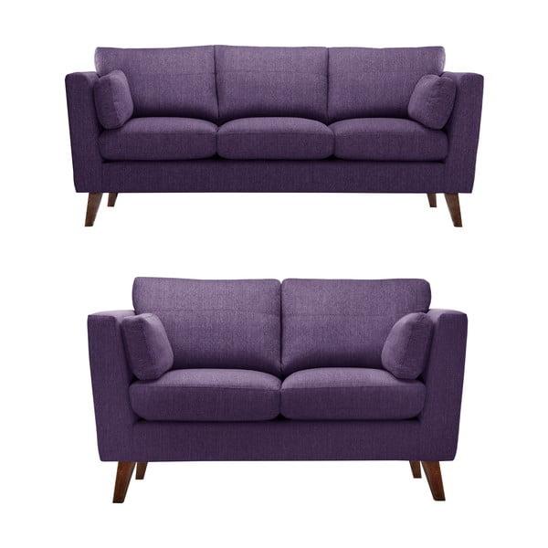 Sada dvou pohovek pre dvoch a pre troch  Elisa, fialová