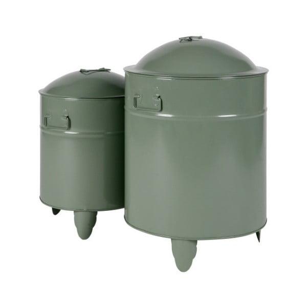 Sada 2 zelených úložných boxov z kovu De Eekhoorn